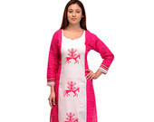 Offwhite+and+Fucshia+Kurta+with+Printed+Motifs+on+Front