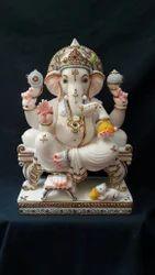 Marble Singhasan Ganesha Staue