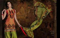 Readymade Punjabi Suit Green Orange Color