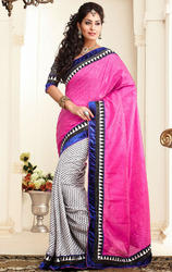 Deep+Pink+and+White+Color+Jacquard+and+Silk+with+Blouse