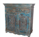 Wooden 2 Drawers Carved Cabinet