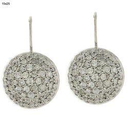 14k Gold Diamond Disc Drop Earrings Jewelry