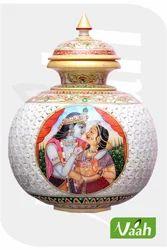 Vaah Marble Decorative Cut Work Big Pot with Radha Krishna