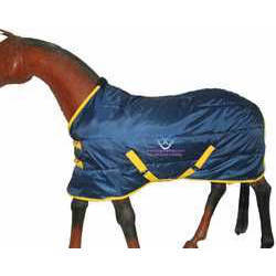 Horse Stable Rug, 100 Grams Poly-fill 420 Navy With Yellow