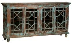 Wooden Side Board With Glass