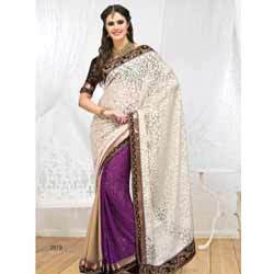 Cream & Purple Brasso Saree