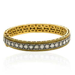 14k Gold Rose Cut Diamond Bangle Jewelry
