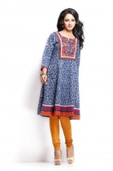 blue round neck kurta
