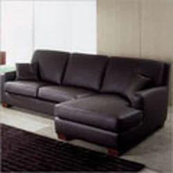 Wood Panel Corner Sofa Set - Rexine