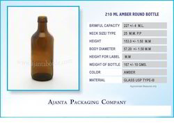 210 Ml Amber Round Bottle