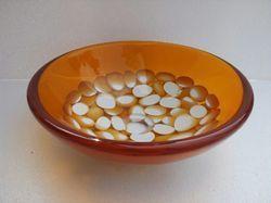 Prayosha Round Orange Ring Pebbles Washbasin