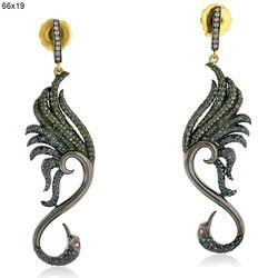 Tourmaline Gemstone Peacock Dangle Earrings Jewelry