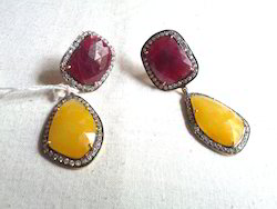 Ruby & Yellow-Sapphire Sliced Stone Earring