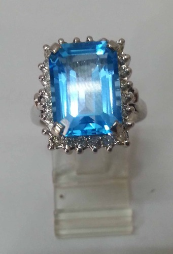Diamond & Blue Topaz Ring