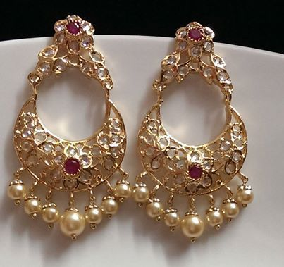 Gold Pink Stone Earring