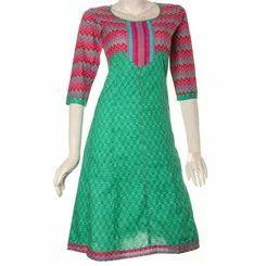Jaipuri Mud Print Shamrock Green Slim Fit Anarkali Kurta