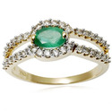 Yellow Gold18K Green Gemstone Ring