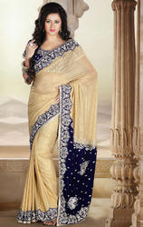 Beige+and+Royal+Blue+Color+Shimmer+Saree+with+Blouse