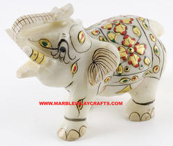 Marble Elephant Gold Painted