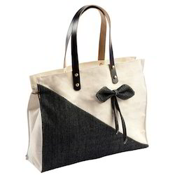 Canvas Ladies Bag with Leather Handle