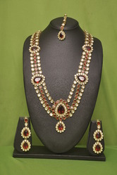 red stone polki necklace set