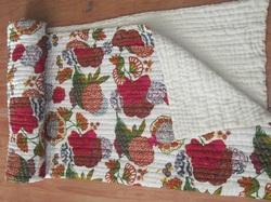 White Fruit Print Tropicana Kantha Quilt
