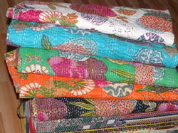 White Tropicana Fruit Printed Kantha Quilt
