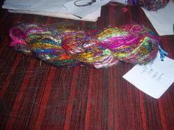 Multicolored Sari Silk Yarn for Knitters, Weavers