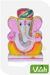 Vaah Marble Painted Decorative Pagdi Lord Ganesha Idol
