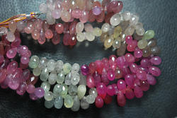 Umba Sapphire Faceted Drops Briolettes, Strand 8 inches