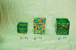 Mosaic Glass Square T-Lite Candle Holders