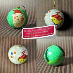 Santa Paper Mache Hand Painted X-mas Hanging Ornament