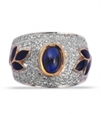 yellow gold leaf motif blue stone amp diamond ring