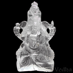 Natural Crystal Quartz Carved Indian God Ganesh Sculpture