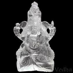Natural Crystal Quartz Carved Indian God Ganesh Sculpture