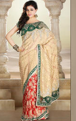 Beige+and+Red+Color+Banarsi+Saree+with+Blouse