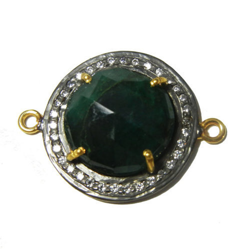 Dyed Emerald Connector Cubic Zirconia Pave