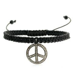 Peace Sign Charm Diamond Macrame Bracelet