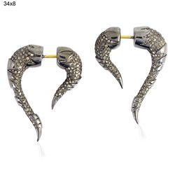Pave Diamond Tunnel Earrings Victorian Jewelry