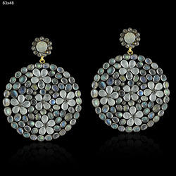 Rainbow Moon Stone Disc Earrings