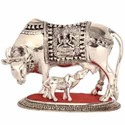 Big White Metal Cow And Calf