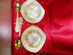 Gold and Silver Plated Mix Bowls with Spoon Set