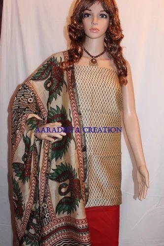 Hand Block Printed Chanderi Silk Suit