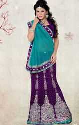 Sea+Green+%26+Purple%2C+Net+%26+Velvet+Lehenga+Saree+with+Blouse