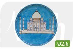 Vaah Blue Pottery Wall Decor Plate with TajMahal