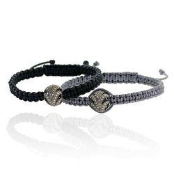 Diamond Silver Charm Macrame Bracelet