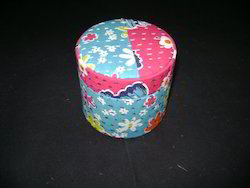 Fabric Covered Round Boxes Made From Recycled Textile