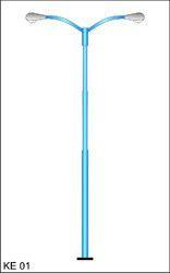 swaged tubular pole with double arm bracket