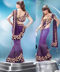 Designer Orchid Purple Saree