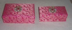 Brocade Fabric Covered Wedding Invitation, Chocolate Boxes